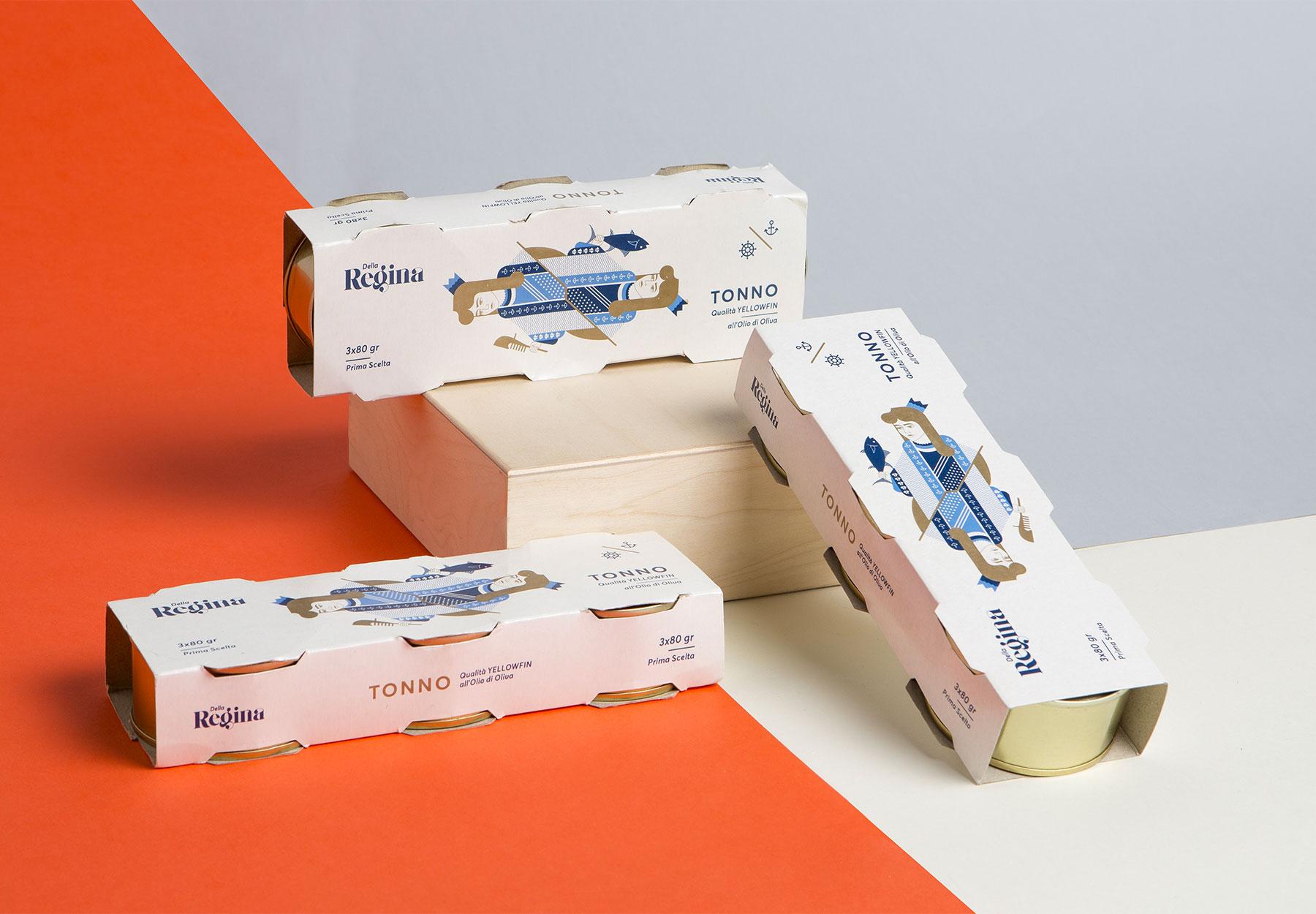 Packaging design lattine tonno Dalla Regina Tagliapietra Drystudio