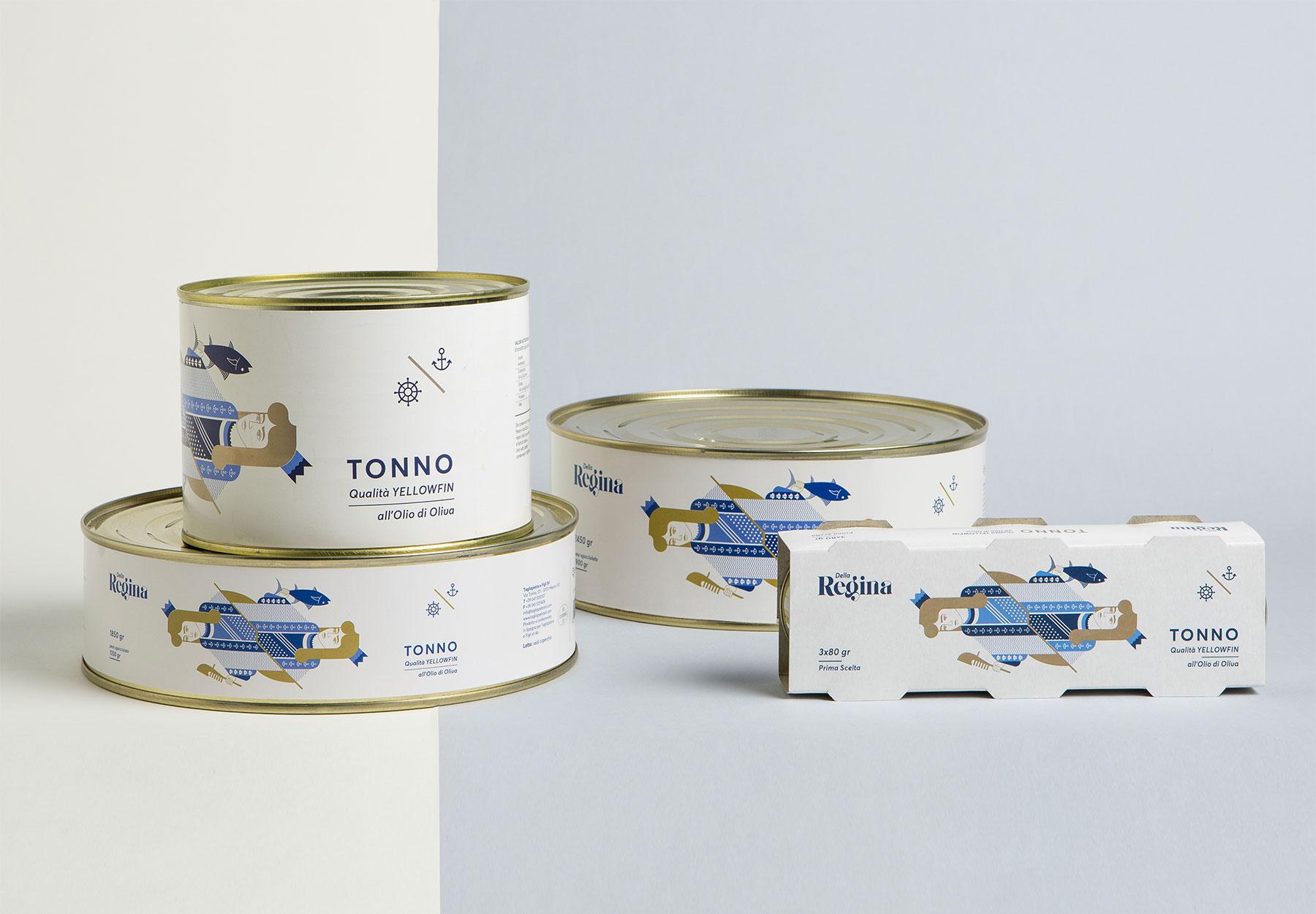 Progettazione Packaging linea prodotto tonno Dalla Regina Tagliapietra Drystudio